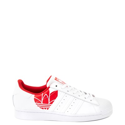 Main view of Mens adidas Superstar 3D Trefoil Athletic Shoe - White / Red