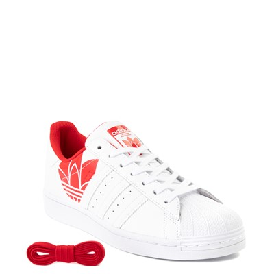 Alternate view of Mens adidas Superstar 3D Trefoil Athletic Shoe - White / Red