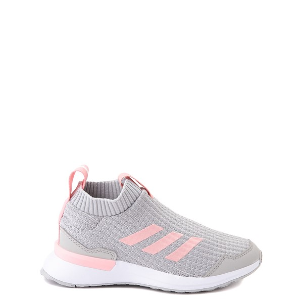 Main view of adidas RapidaRun Laceless Athletic Shoe - Little Kid - Gray / Pink