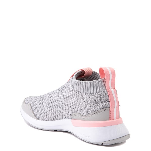 alternate view adidas RapidaRun Laceless Athletic Shoe - Little Kid - Gray / PinkALT1