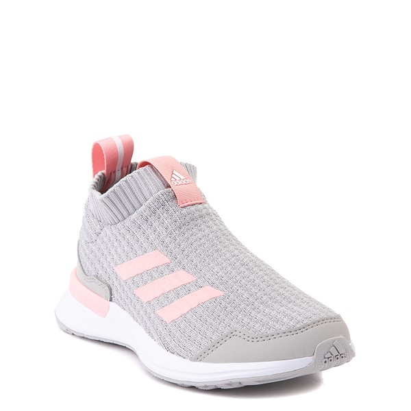 alternate view adidas RapidaRun Laceless Athletic Shoe - Little Kid - Gray / PinkALT5
