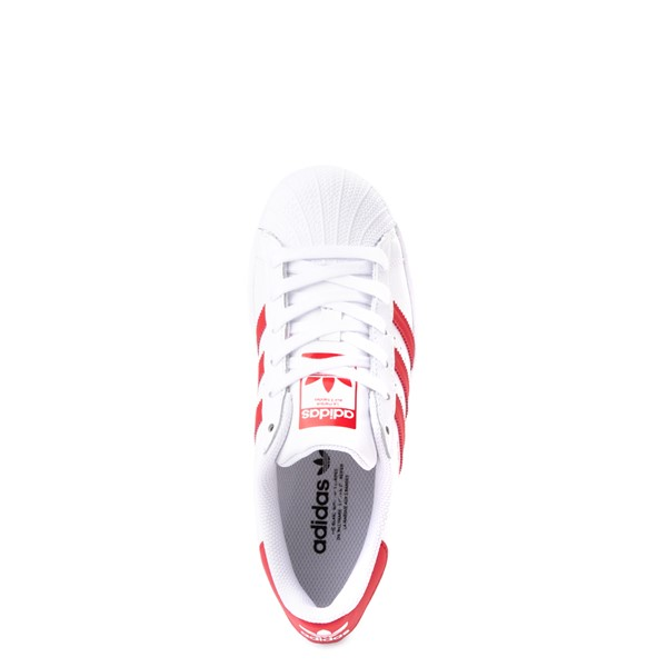 alternate view adidas Superstar Athletic Shoe - Big Kid - White / RedALT2