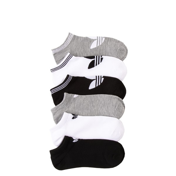 Main view of Womens adidas Low Cut Socks 6 Pack - Black / White / Gray