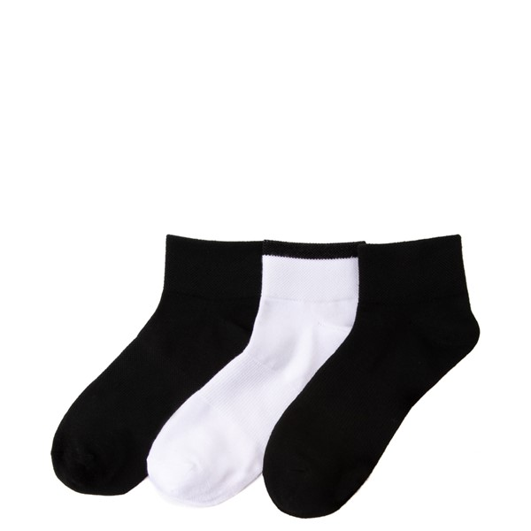 alternate view Womens adidas Shortie Trefoil Socks 3 Pack - Black / WhiteALT1