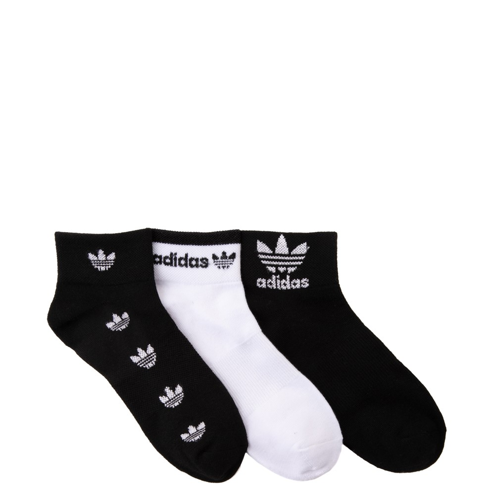 Womens adidas Shortie Trefoil Socks 3 Pack - Black / White