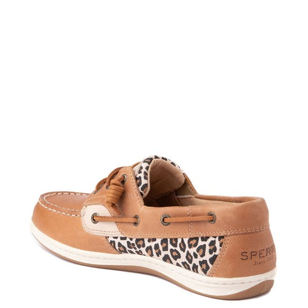 alternate view Womens Sperry Top-Sider Songfish Boat Shoe - Tan / LeopardALT1
