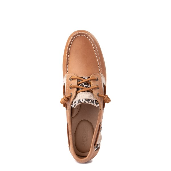 alternate view Womens Sperry Top-Sider Songfish Boat Shoe - Tan / LeopardALT2