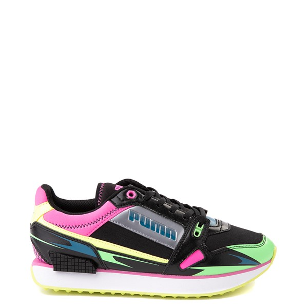 Womens Puma Mile Rider Sunny Getaway Athletic Shoe - Black / Neon Multicolor