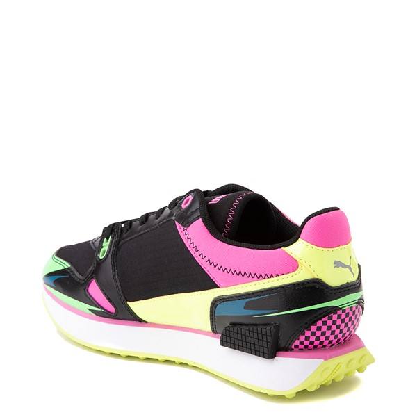 alternate view Womens Puma Mile Rider Sunny Getaway Athletic Shoe - Black / Neon MulticolorALT1
