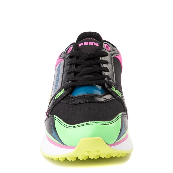 alternate view Womens Puma Mile Rider Sunny Getaway Athletic Shoe - Black / Neon MulticolorALT4