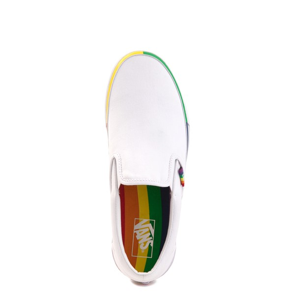 alternate view Vans Slip On Skate Shoe - White / RainbowALT2