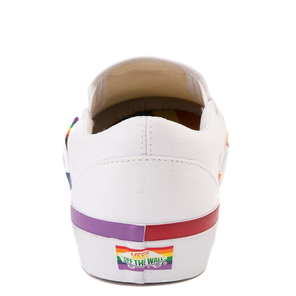alternate view Vans Slip On Skate Shoe - White / RainbowALT4