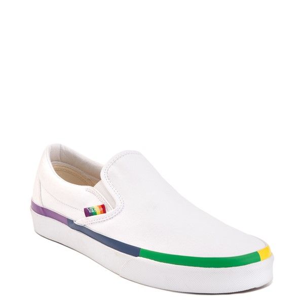 alternate view Vans Slip On Skate Shoe - White / RainbowALT5