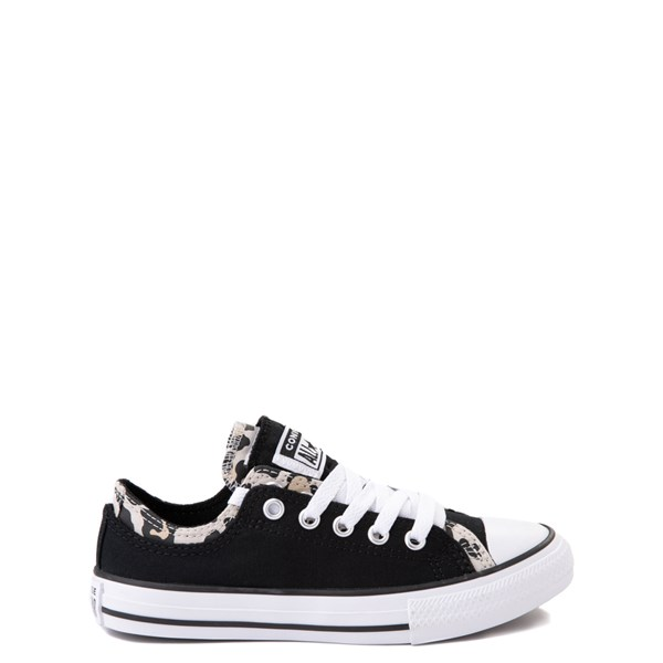 Converse Chuck Taylor All Star Lo Double Upper Sneaker - Little Kid / Big Kid - Black / Leopard