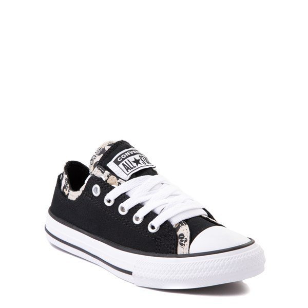 alternate view Converse Chuck Taylor All Star Lo Double Upper Sneaker - Little Kid / Big Kid - Black / LeopardALT1
