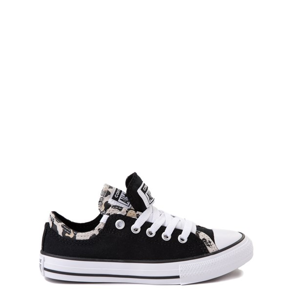 alternate view Converse Chuck Taylor All Star Lo Double Upper Sneaker - Little Kid / Big Kid - Black / LeopardALT1B