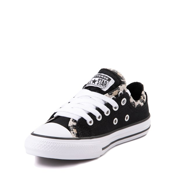 alternate view Converse Chuck Taylor All Star Lo Double Upper Sneaker - Little Kid / Big Kid - Black / LeopardALT3