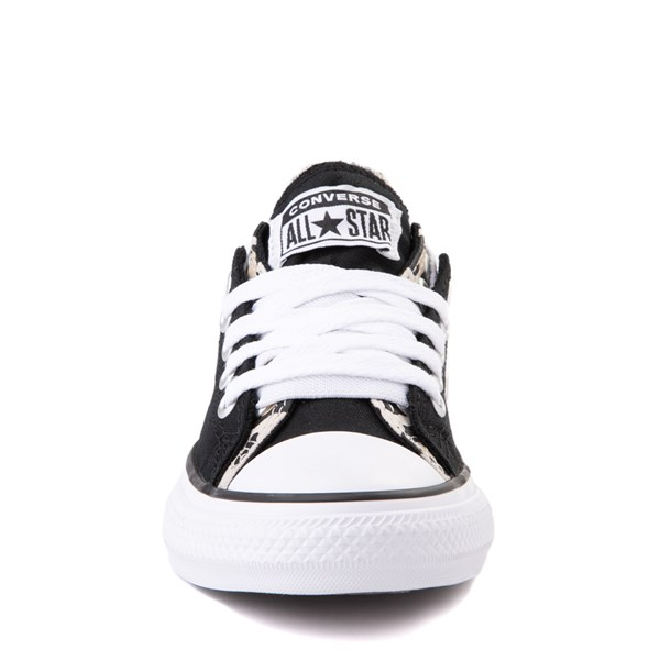 alternate view Converse Chuck Taylor All Star Lo Double Upper Sneaker - Little Kid / Big Kid - Black / LeopardALT4