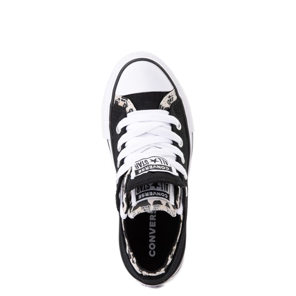 alternate view Converse Chuck Taylor All Star Lo Double Upper Sneaker - Little Kid / Big Kid - Black / LeopardALT4B