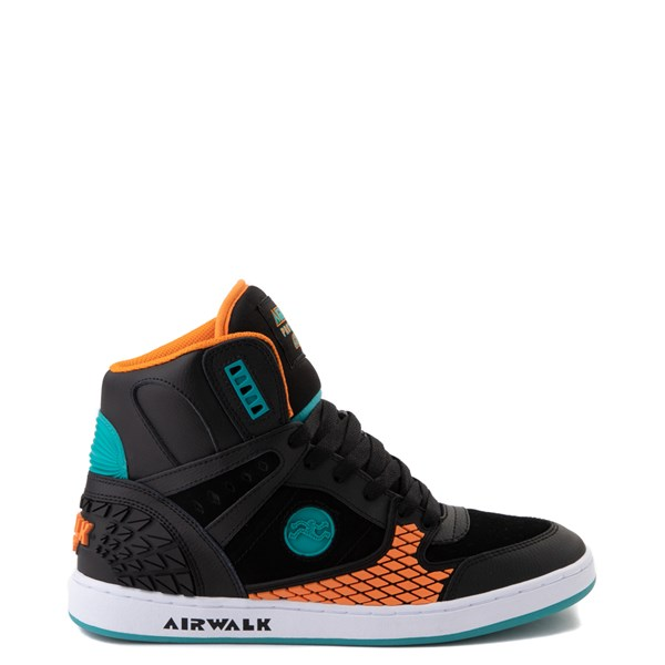 Mens Airwalk Prototype 600°F Hi Skate Shoe - Black / Orange / Turquoise