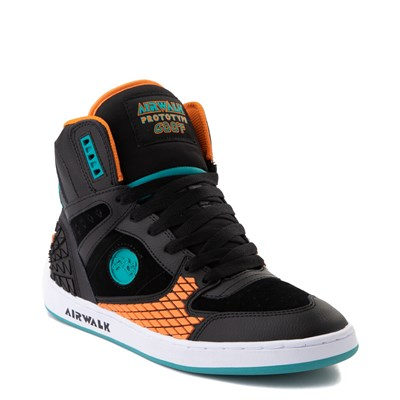 Alternate view of Mens Airwalk Prototype 600°F Hi Skate Shoe - Black / Orange / Turquoise