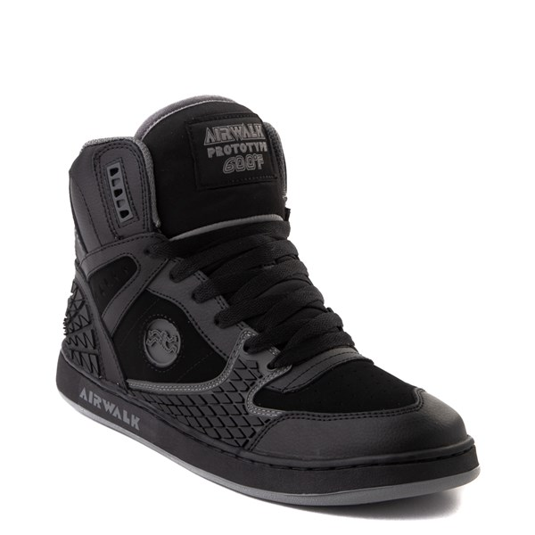 alternate view Mens Airwalk Prototype 600°F Hi Skate Shoe - Black / CharcoalALT1