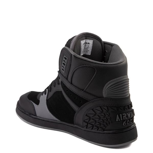 alternate view Mens Airwalk Prototype 600°F Hi Skate Shoe - Black / CharcoalALT2