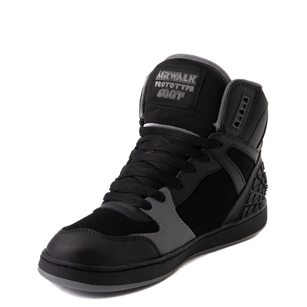 alternate view Mens Airwalk Prototype 600°F Hi Skate Shoe - Black / CharcoalALT3