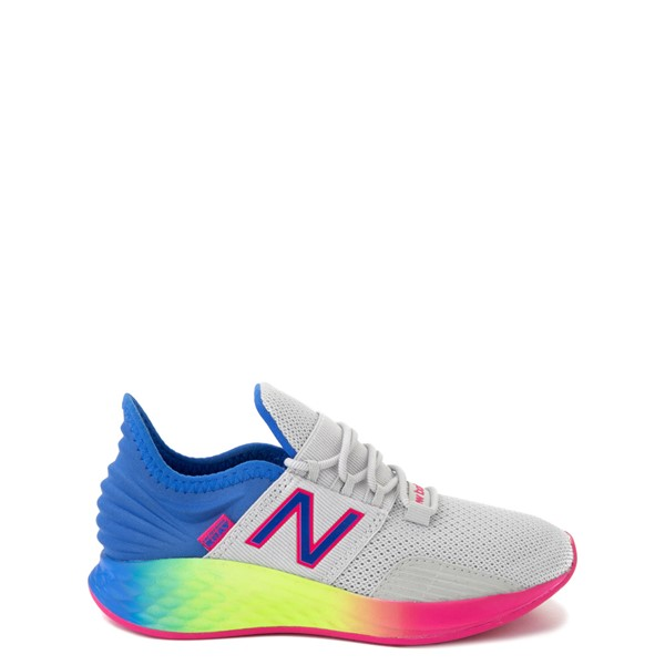 Main view of New Balance Fresh Foam Roav Athletic Shoe - Little Kid - Gray / Rainbow