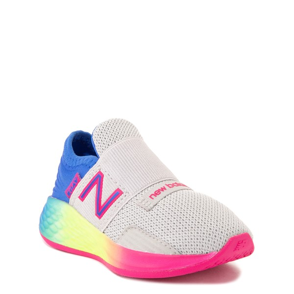 alternate view New Balance Fresh Foam Roav Slip On Athletic Shoe - Baby / Toddler - Gray / RainbowALT5