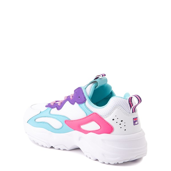 alternate view Fila Ray Tracer Athletic Shoe - Little Kid - White / Pink / TurquoiseALT1