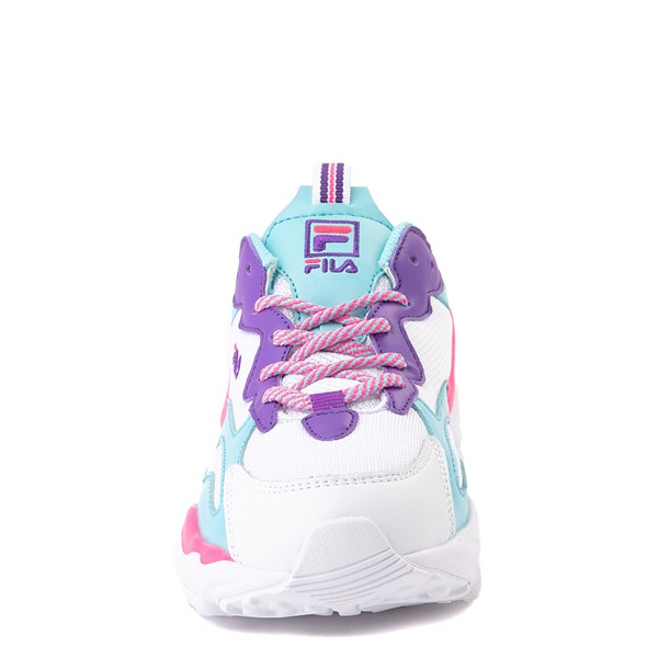alternate view Fila Ray Tracer Athletic Shoe - Little Kid - White / Pink / TurquoiseALT4