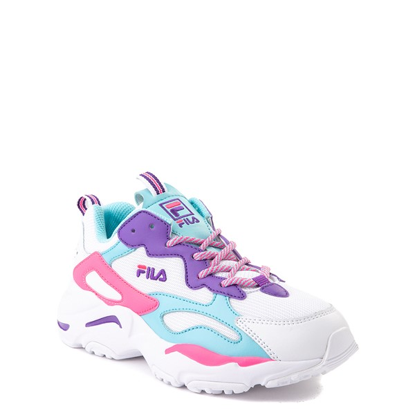 alternate view Fila Ray Tracer Athletic Shoe - Little Kid - White / Pink / TurquoiseALT5
