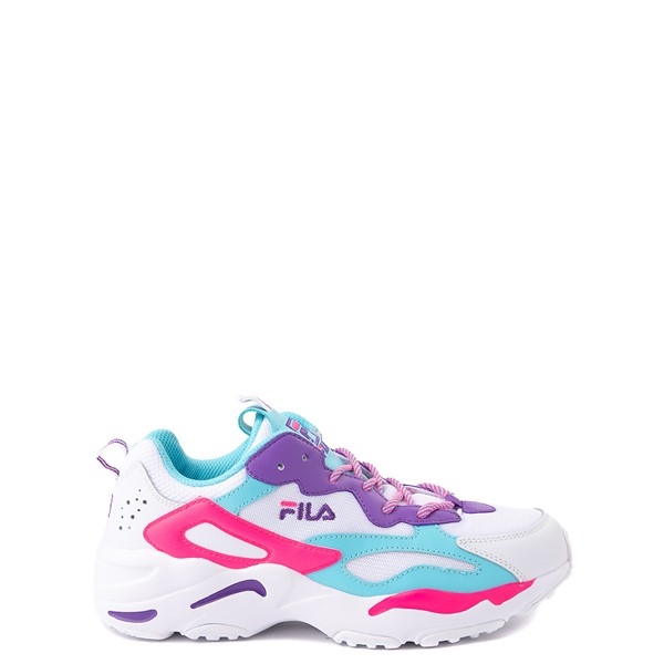 Fila Ray Tracer Athletic Shoe - Big Kid - White / Pink / Turquoise