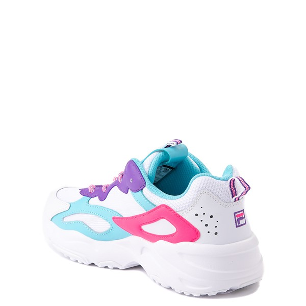 alternate view Fila Ray Tracer Athletic Shoe - Big Kid - White / Pink / TurquoiseALT1