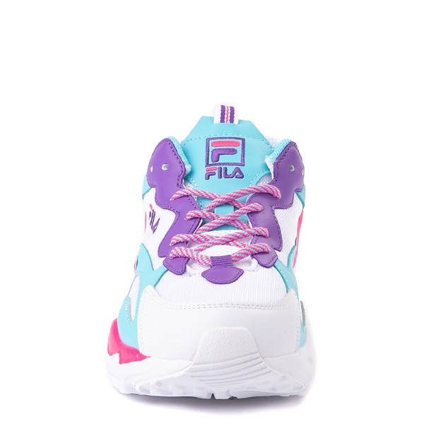 alternate view Fila Ray Tracer Athletic Shoe - Big Kid - White / Pink / TurquoiseALT4