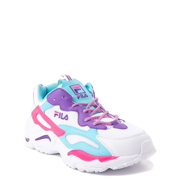 alternate view Fila Ray Tracer Athletic Shoe - Big Kid - White / Pink / TurquoiseALT5