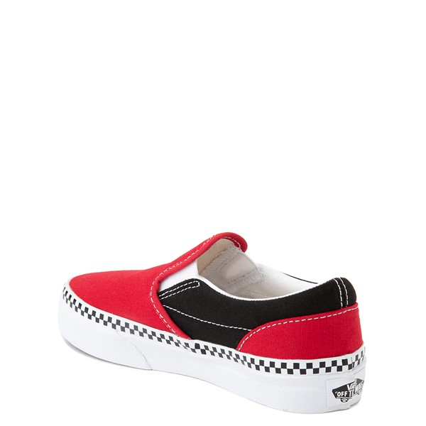 alternate view Vans Slip On Checkerboard Skate Shoe - Little Kid - Red / BlackALT1