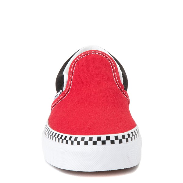 alternate view Vans Slip On Checkerboard Skate Shoe - Little Kid - Red / BlackALT4