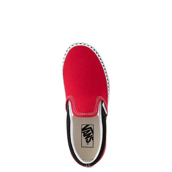 alternate view Vans Slip On Checkerboard Skate Shoe - Little Kid - Red / BlackALT4B