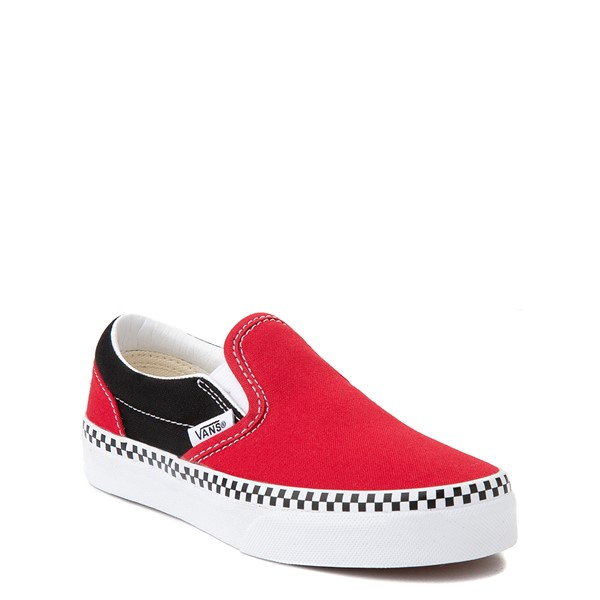 alternate view Vans Slip On Checkerboard Skate Shoe - Little Kid - Red / BlackALT5