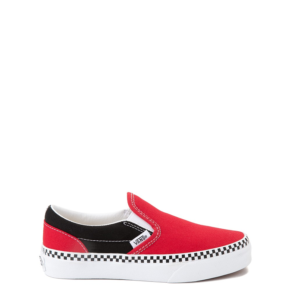 Vans Slip On Checkerboard Skate Shoe - Little Kid - Red / Black
