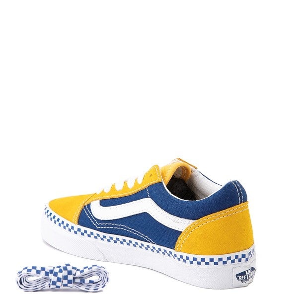 alternate view Vans Old Skool Checkerboard Skate Shoe - Little Kid - Spectra Yellow / True BlueALT1