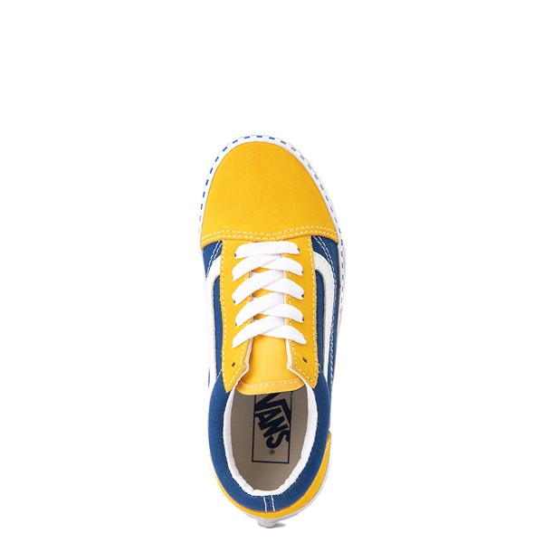 alternate view Vans Old Skool Checkerboard Skate Shoe - Little Kid - Spectra Yellow / True BlueALT2