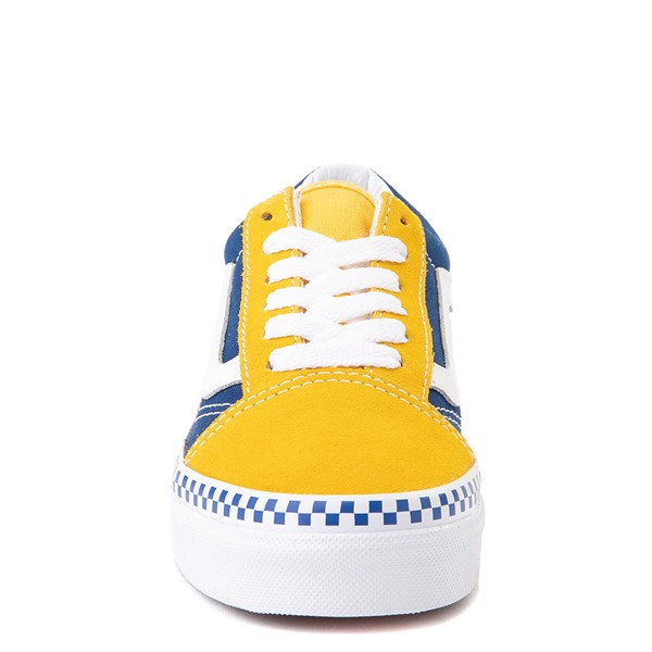 alternate view Vans Old Skool Checkerboard Skate Shoe - Little Kid - Spectra Yellow / True BlueALT4