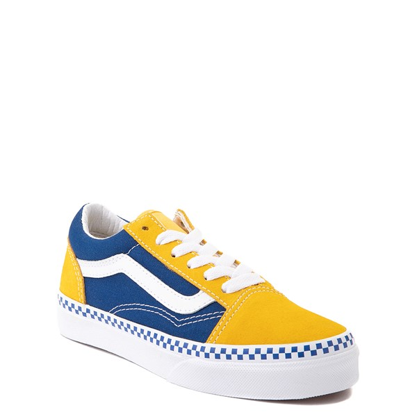 alternate view Vans Old Skool Checkerboard Skate Shoe - Little Kid - Spectra Yellow / True BlueALT5