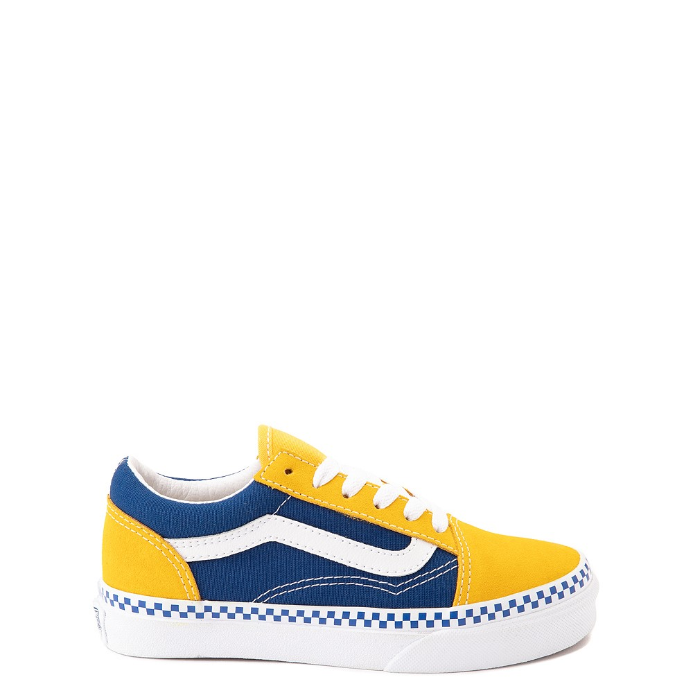 Vans Old Skool Checkerboard Skate Shoe - Little Kid - Spectra Yellow / True Blue