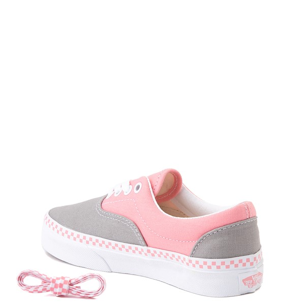 alternate view Vans Era Checkerboard Skate Shoe - Little Kid - Drizzle Gray / PinkALT1