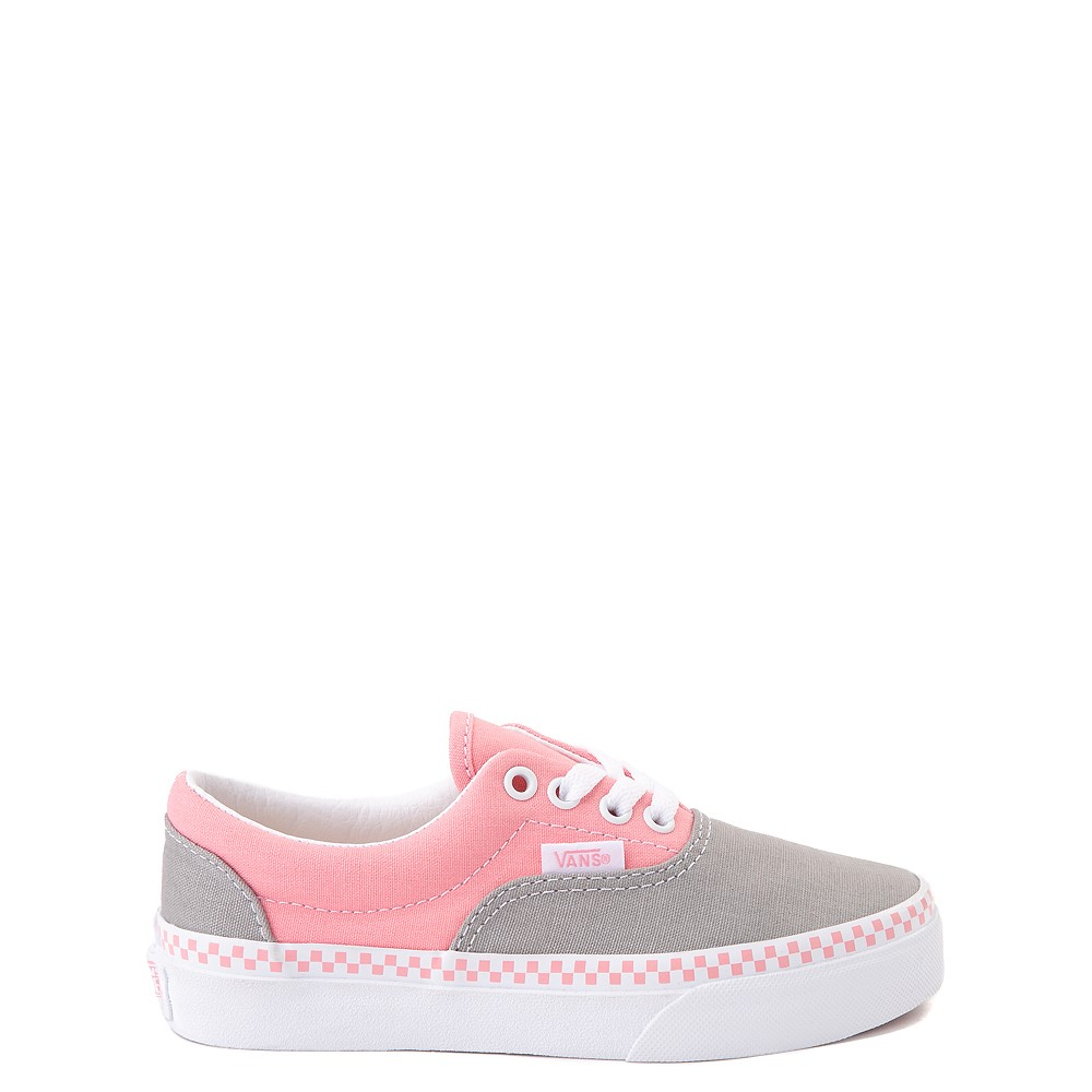 Vans Era Checkerboard Skate Shoe - Little Kid - Drizzle Gray / Pink