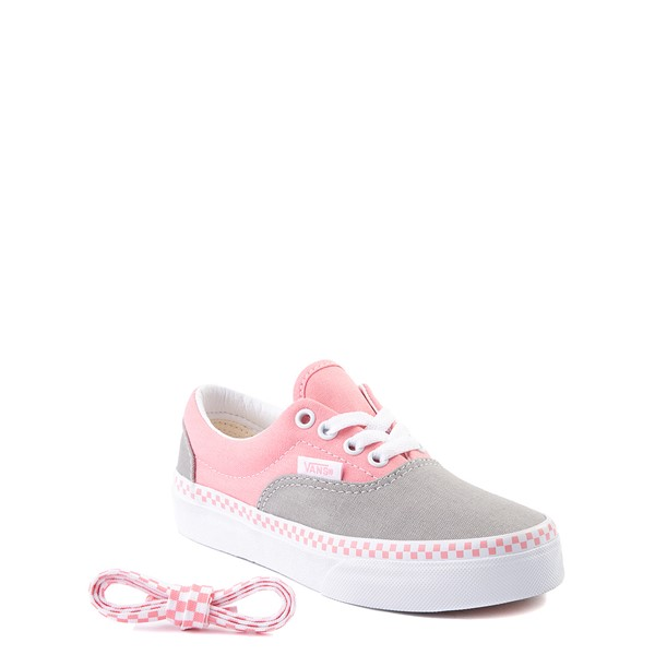 alternate view Vans Era Checkerboard Skate Shoe - Big Kid - Drizzle Gray / PinkALT1-2